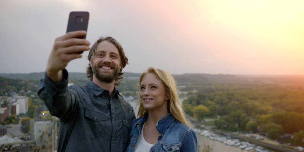 A couple taking a selfie in Red Wing, Minnesota