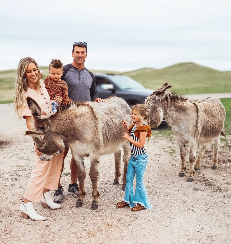 A family on the Wildlife Loop Road, Custer State Park, South Dakota