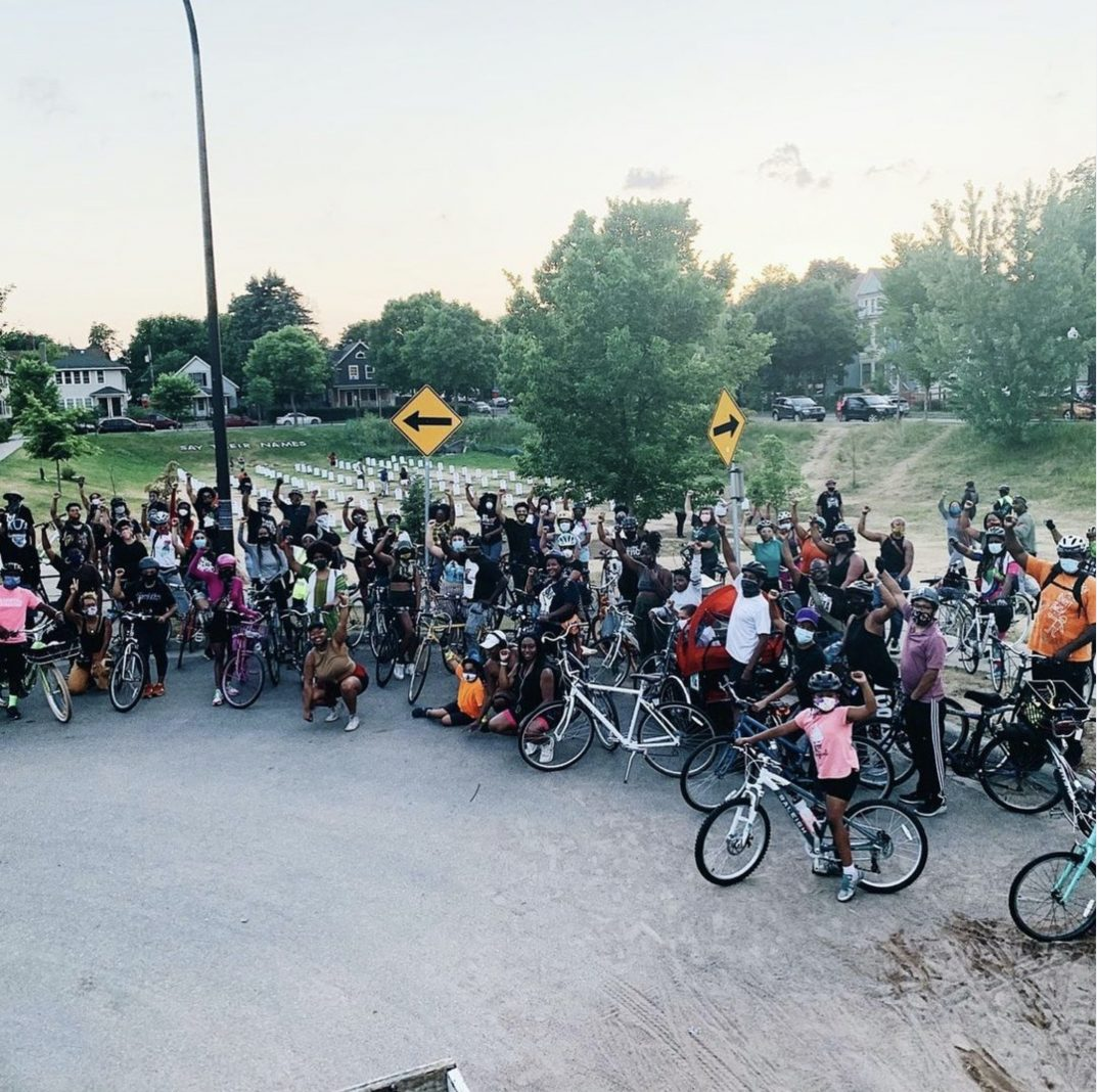 The Juneteenth Revolutionary Blackout Bikeride rolled through Minneapolis to George Floyd Square last year