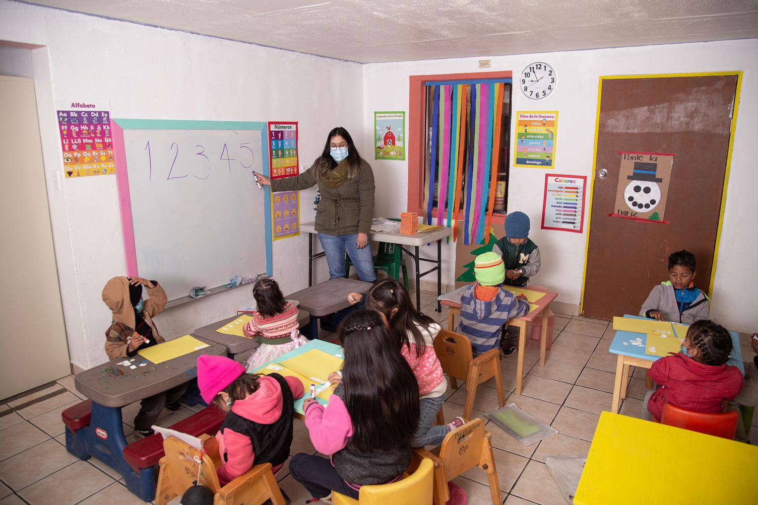 Children learning in a school room
