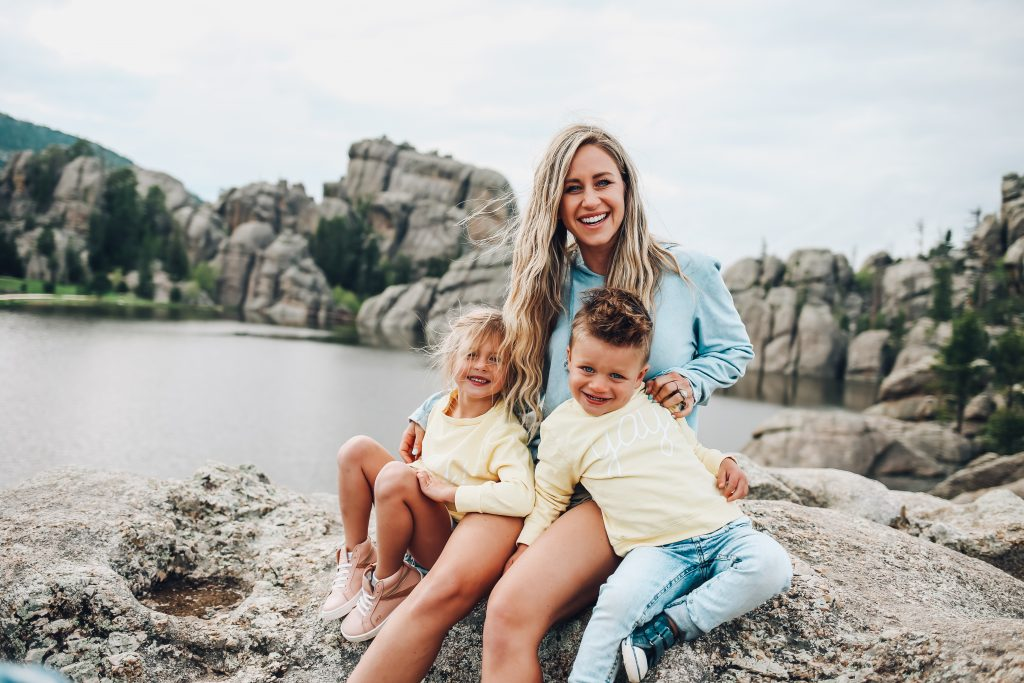A family at Sylvan Lake, Custer State Park, South Dakota