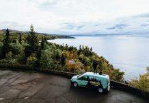 A Voyager campervan overlooks Lake Superior