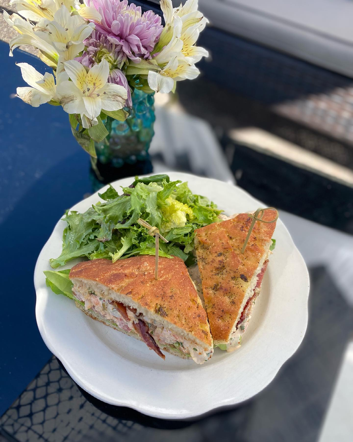 At Heather's: Shrimp Salad Sandwich with Fischer Farms Bacon, Lettuce & Tomato on Focaccia