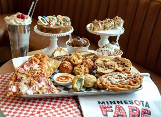 A spread of Minnesota State Fair-inspired food awaits at the Potluck food hall in Rosedale Center
