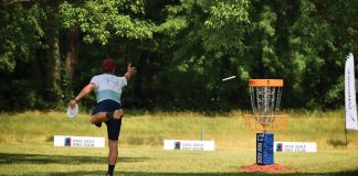 Cale Levinska competes in the Disc Golf Pro Tour championship at Airborn Preserve, his new disc golf facility in Clearwater, Minnesota, in 2020