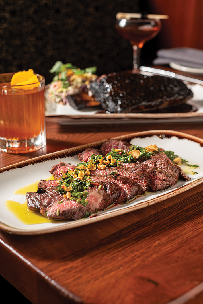 At the Butcher's Tale: the chimichurri-topped Wagyu Denver steak with an old fashioned