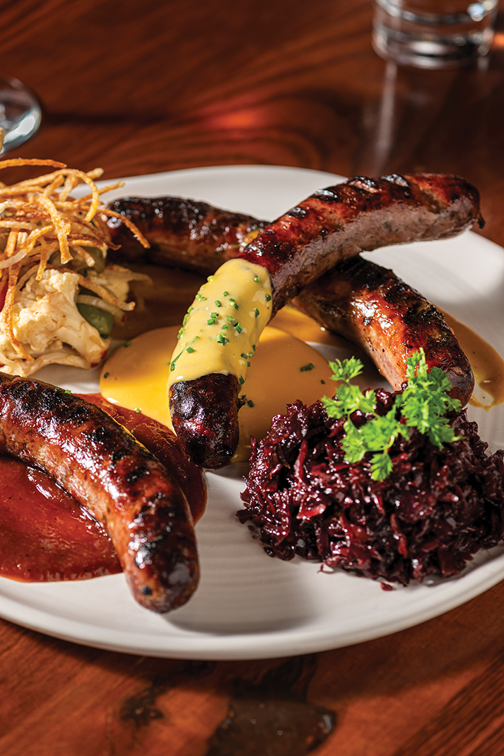 The smoked sausage platter at the Butcher's Tale