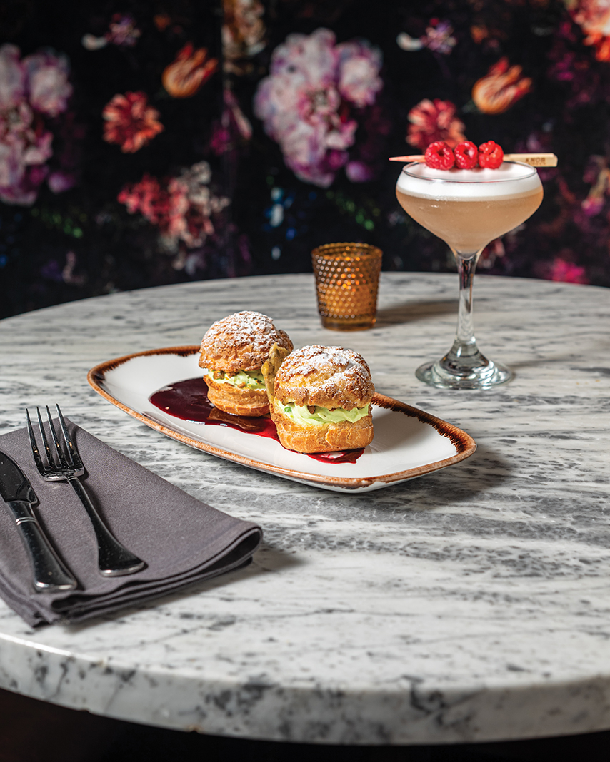 Pistachio cream puffs and a Butcher's Club cocktail at the Butcher's Tale